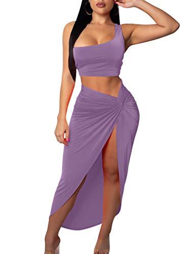 BEAGIMEG Women's Sexy One Shoulder Long Bodycon Slit Skirt 2 Pieces Dress Lavender ()