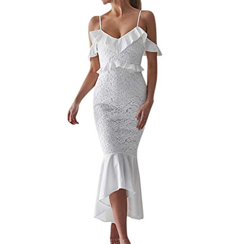 DIOMOR Women Sexy Lace Off Shoulder Ruffle Cocktail Party Prom Salon Pencil Knee Dress Gift White -
