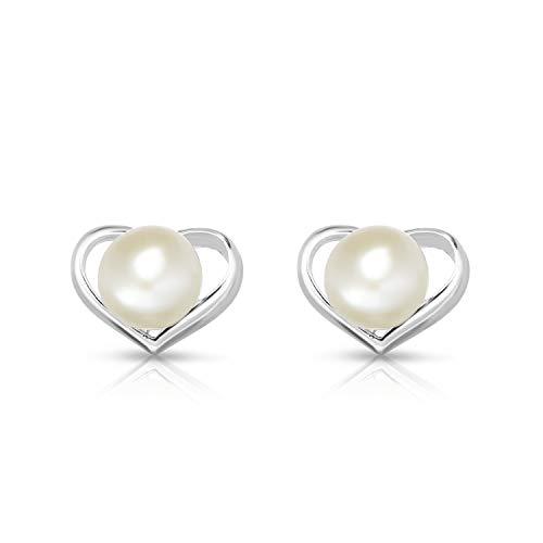 925 Solid Sterling Silver Round 6MM Fresh Water Pearl Heart Shape Post Earrings. (rhodium-plated-silver) -