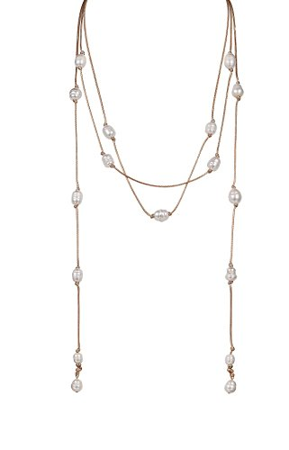 Baroque Pearl Chain Necklace (Baroque Pearl Endless Cord Necklace, Oxidized Silver, White Cultured Freshwater Pearls)