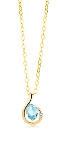 Miore - MH9086N - Collier Femme - Or Jaune 9 Cts 375/1000 2.15 Gr - Topaze Bleue