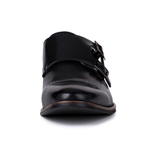 Jivana Mens Pu Leather Classic Oxford Dress Shoes Double Monk Strap Buckle Shoes Online Shop