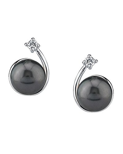 THE PEARL SOURCE 8-9mm Black Tahitian South Sea Cultured Pearl & Cubic Zirconia Shooting Star Earrings for Women
