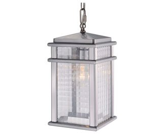 Feiss OL3411BRAL-LED Mission Lodge LED Outdoor Pendant Lantern, 1-Light, Aluminum (7''W by 14''H)