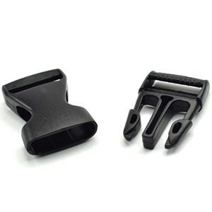 25mm Flat Side Release Buckles KLOUD City 12 pcs Black Plastic 1-inch