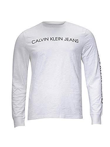 (Calvin Klein Mens Logo Longsleeve T-Shirt, Adult, Black, XL)