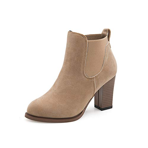 UONQD Autumn Winter Boots Square High Heel Ankle Booties Abkle Knot Winter Shoes KH/35(US:4.5,Khaki)