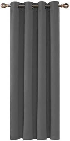 Deconovo Tenda Oscurante Termica Isolante con Occhielli per la Tua Casa 100% Poliestere 132×214 CM Grigio Scuro Un Pannello