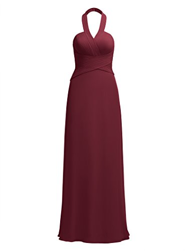 Alicepub Halter Bridesmaid Maxi Dresses For Women Long Formal Party Prom Dress Evening Gowns, Burgundy, US10 (Criss Bodice Cross Sweetheart)