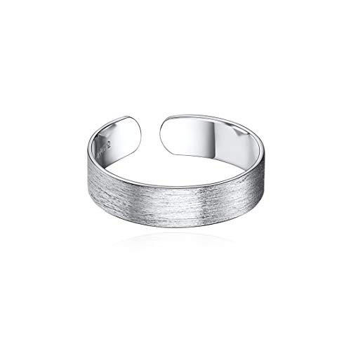 5mm 925 Sterling Silver Rings for Women Mens Brushed Dome Wedding Band Adjustable Flat Wide Cuff Ring Stackable Rings for Women - Flat Sterling Band Silver 5mm