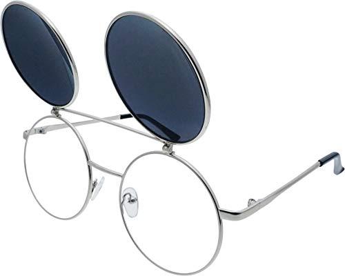 J&L Glasses Retro Flip-Up Round Goggles Seampunk Sunglasses (Sliver,Black, -