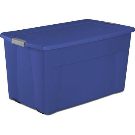 Sterilite 45 Gallon Wheeled Latch Tote- Stadium Blue, Case of 4 by Sterilite