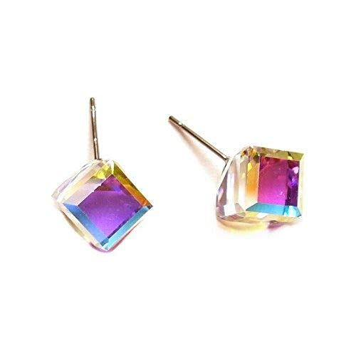 Crystal Austrian Swarovski Cube (Vitrail Medium Tilted Cube Finest Austrian Crystal Stud Earrings, 8mm)