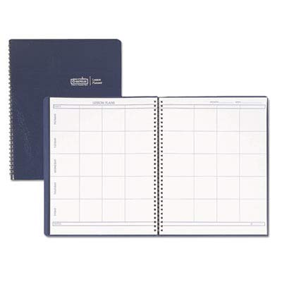 (House of Doolittle Products - House of Doolittle - Lesson Plan Book, Embossed Leather-Like Cover, 11 x 8-1/2, Blue - Sold As 1 Each - Weekly lesson planner for eight class periods for up to 41 weeks. - With extra pages for changes. - Embossed blue simulated leather cover.)