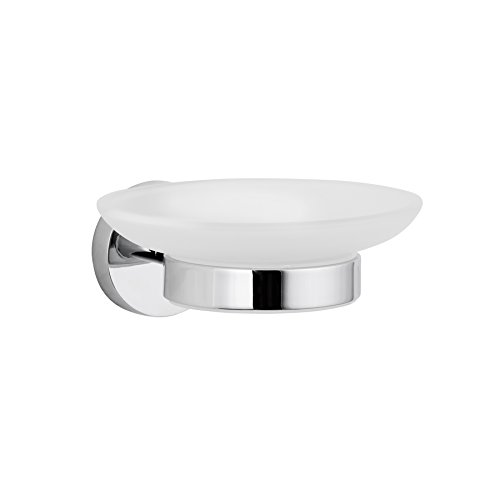 Maykke Nob Hill Wall Mount Frosted Glass Soap Dish Modern Solid Brass Space-Saving Bathroom Lavatory, Shower, Kitchen Floating Above Countertop Soap Holder Polished Chrome, AHA1000401