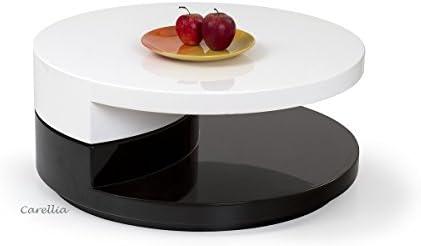 Table Basse Ronde Laquee.Carellia Table Basse Design Ronde Laque Blanc Noir
