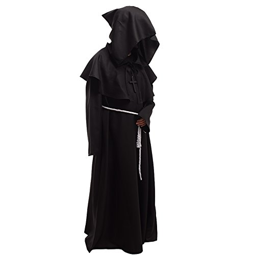 BLESSUME Friar Medieval Hooded Robe Monk Renaissance Priest Robe Halloween Cosplay Costume -
