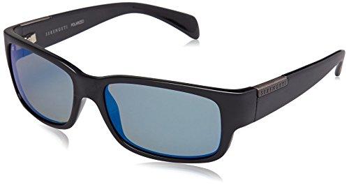 Serengeti 8267 Merano, Satin/Shiny Black Frame, Polarized 555nm Blue Lens (Polarized Sunglasses Lens 555nm)