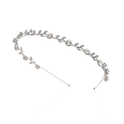 SWEETV Crystal Hair Band for Brides Rhinestone Bridal Headband Tiara Wedding Hair Accessories, Single Band Silver