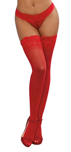 Dreamgirl Women's Silicone Lace Top Sheer Thigh High, Red, One Size ()