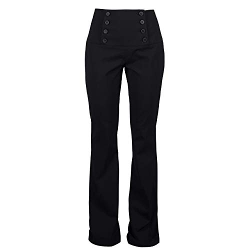 Womens Trouser - Black || Button Embellished - Flared Pants - Sailor Bell Trousers for women || Custom Handmade Gift for Wedding Festival Occasion Anniversary Graduation ()