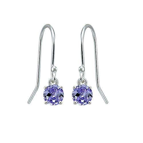 Sterling Silver Tanzanite 5mm Round Small Solitaire Dangle Earrings for Women, Teen Girls