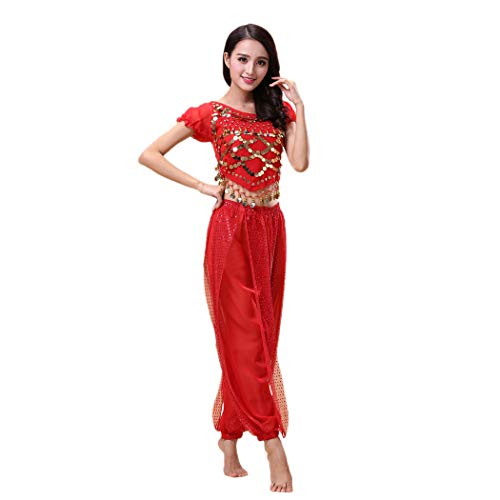 Maylong Women's Harem Pants Belly Dance Outfit Halloween Costume DW65 (red) -
