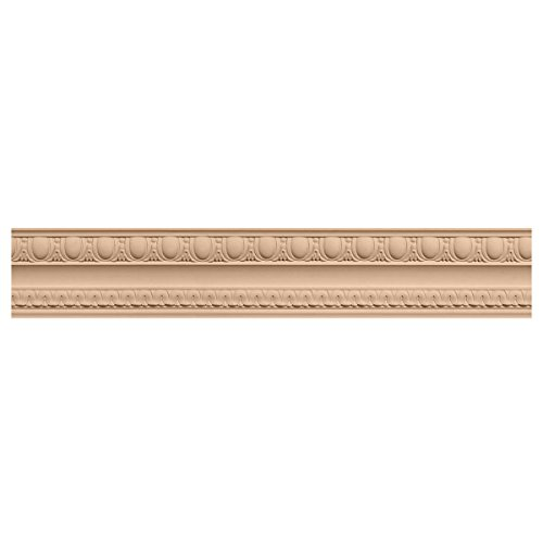 Ekena Millwork MLD04X02X05BEMA 4-Inch H x 2 7/8-Inch P x 5-Inch F x 96-Inch L Bedford Carved Wood Crown Moulding, Maple (Moulding Maple Crown)