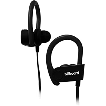 Billboard Bluetooth Wireless Hook Over Earbuds With Tangle Free Flat Cord, Controls and Microphone - Black