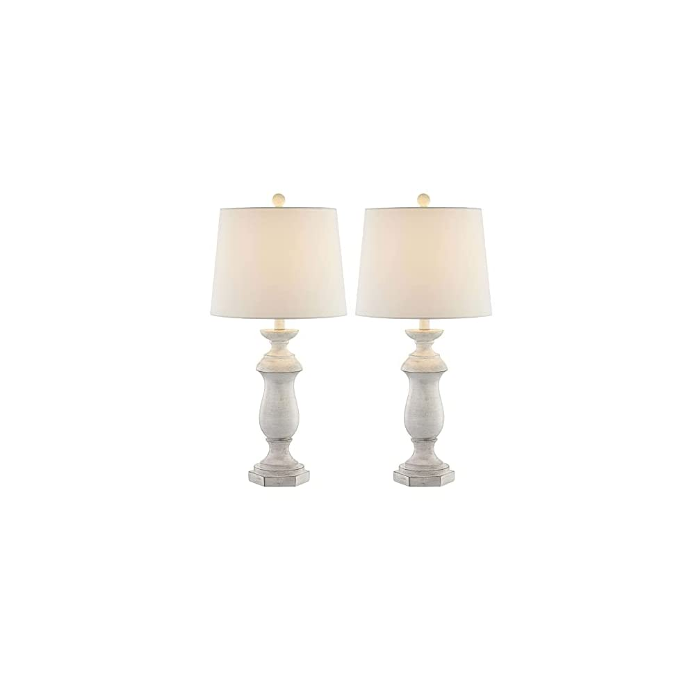 Maxax Traditional Table Lamps Set of 2, Rustic Farmhouse Poly Nightstand Lamp with White Fabric Drum Shade for Living…