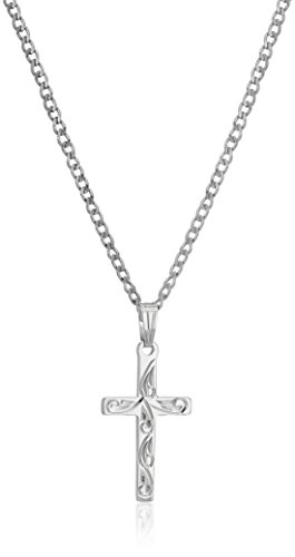 Sterling Silver Hand Engraved Solid Cross Pendant Necklace, 18