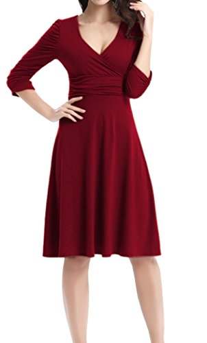 Dress Retro Fiesta 4 V Cuello DELEY Manga Cóctel Vino 3 Vestido Elegante Casual Tinto Mujer qXxw7ZF
