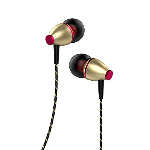 Earphones, Oliomp Wired Headphones in-Ear Headphone Sports Earphone Wired Control Cable Clip Stereo Sound Noise Cancelling Earbuds (Gold)