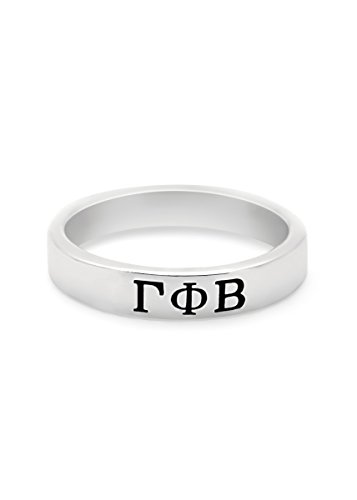 The Collegiate Standard Gamma Phi Beta Sterling Silver Skinny Band Ring (8.0)