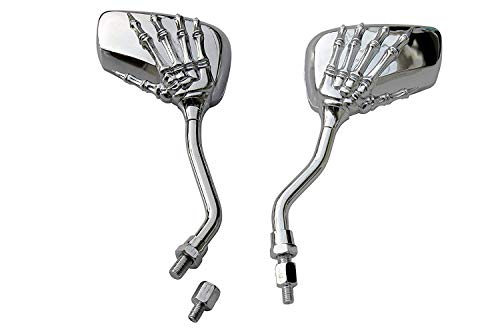 (MotorToGo Small Silver Skull Hand Rear View Mirrors for 2006 Victory Touring Cruiser)