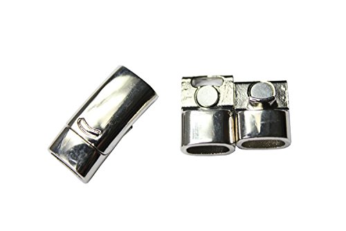 Silver Plated Safe (10 pieces 10mmx5mm Hole Size Silver Plated Curved Magnetic Closure with Safe Bar (Silver Plated))