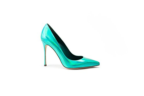 Sergio Rossi Suede Platform Pump - Sergio Rossi Pumps, Luxury Italian High Heels for Women, Turchese/Turquoise, Closed Pointed Toe, 105mm Heel, Suede, Made in Italy