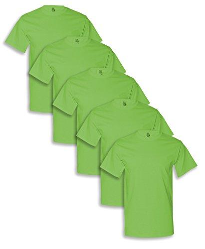 Fruit of the Loom Men's 5-Pack Crew Neck T-shirt- Kiwi Green - L