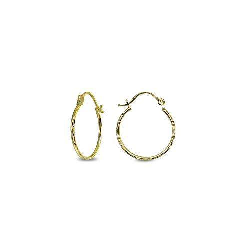 - 14K Gold Tiny Small 16mm Diamond-Cut Round Thin Lightweight Unisex Click-Top Hoop Earrings for Women Girls Teens