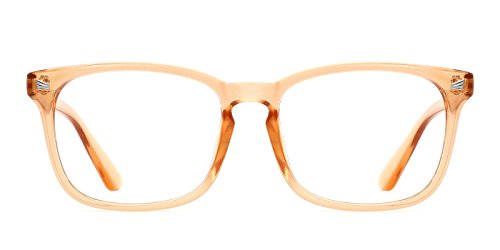 TIJN Unisex Wayfarer Non-prescription Glasses Frame Clear Lens Eyeglasses (B, - Prescription Orange Glasses