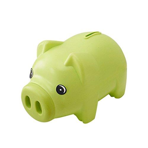 TOYMYTOY Plastic Piggy Bank Coin Saving Pot Cash Collectible Saving Box Pig Toys (Green)