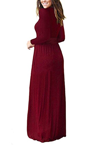 irene Dress Plain Floor Dresses Sleeve amp;Long Swing inevent Maxi Wine Length Red 2 Loose with Pockets Short Casual Long Women's 1qwfY1