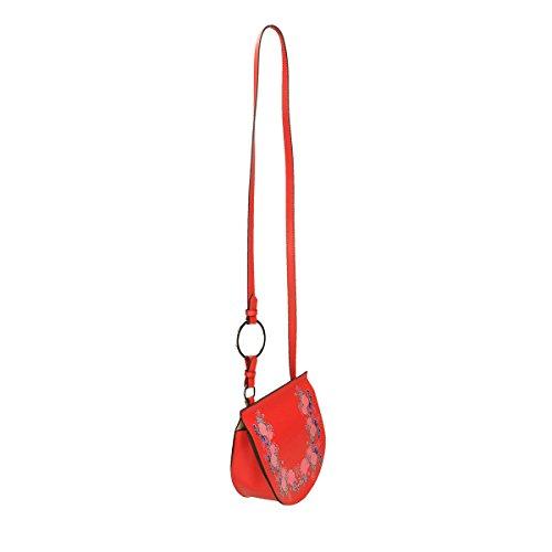 Chicca Borse Piel genuina bandolera 22x15x10 Cm Rojo