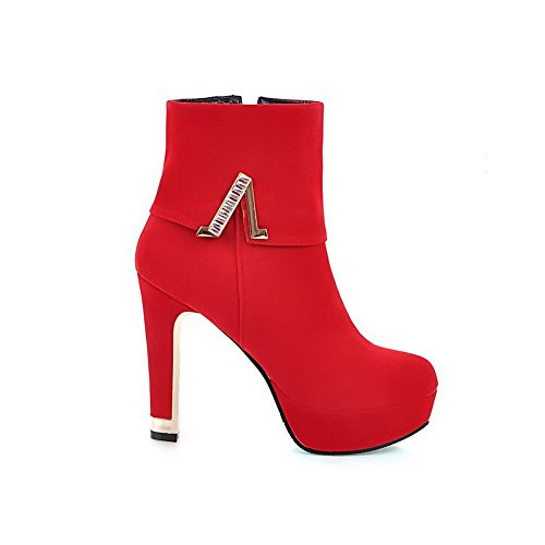 VogueZone009 Damen Hoher Absatz Mattglasbirne Rein Stiefel mit Beschlagene Strass Rot