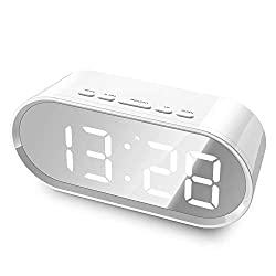 Large LCD Screen Portable MirrorDigital Alarm Clock with Snooze/Ascending Sound/Good Night Light/Temperature Display Functions, Powered by 2 AAA Batteries or USB Charging, (Charging Cable Included)
