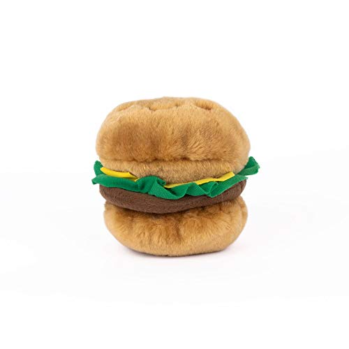 - ZippyPaws - NomNomz Plush Squeaker Dog Toy for The Foodie Pup - Hamburger
