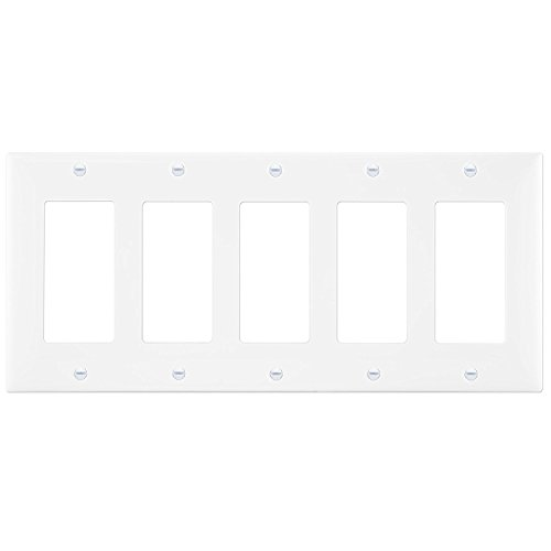 Decorator Light Switch GFCI Rocker Wall plate by Enerlites 8835M-W | Medium Size 5-Gang, White, Made of Unbreakable Poly-carbonate Plastic, Replacement Electrical Outlet Receptacle Panel Cover