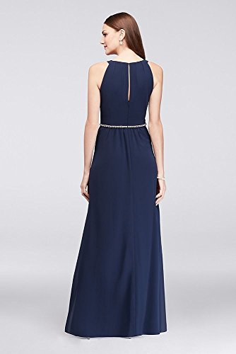 Waist Beaded Gown Bride Neck Pleated Chiffon Style Navy Round Mother Groom T8fT46qw