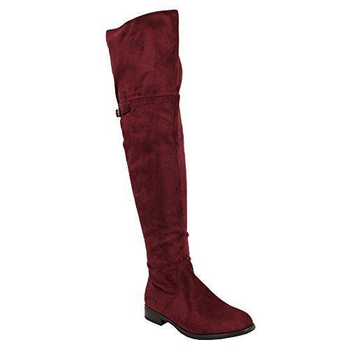 INVERNO Stivali Rosso LOOK al lungo CAMOSCIO Scarpe sopra Donne da ginocchio Y808 Kelsi UwZxZ