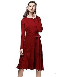 Vintage Boho Sweater Dress 2018 Spring Autumn Cashmere Belt A Line Pleated Midi Style Maxi Knitting Dresses Wine S